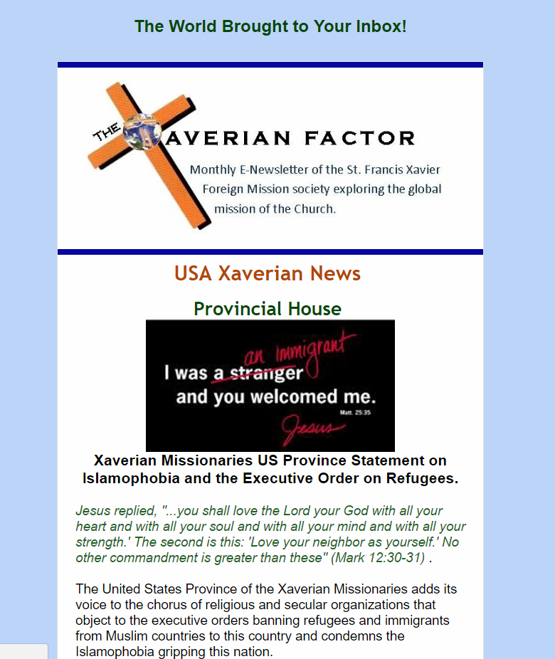 E-Newsletters | Xaverian Missionaries USA